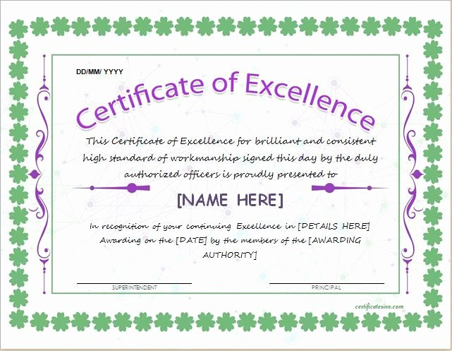 Certificate Of Excellence Template Beautiful Certificate Of Excellence Template for Ms Word Download at
