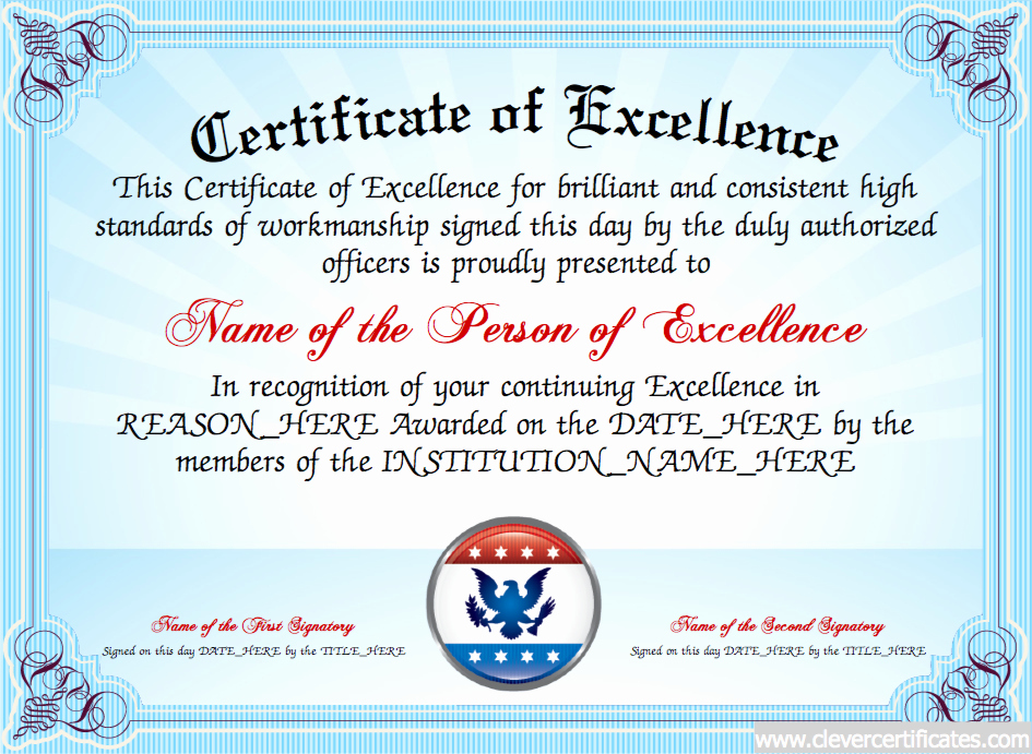 Certificate Of Excellence Template Best Of Certificate Of Excellence Free Certificate Templates for Employees You Can Add Text Images