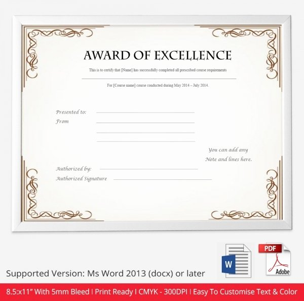 Certificate Of Excellence Template Best Of Certificate Template 50 Free Printable Word Excel Pdf Psd Google Drive format Download