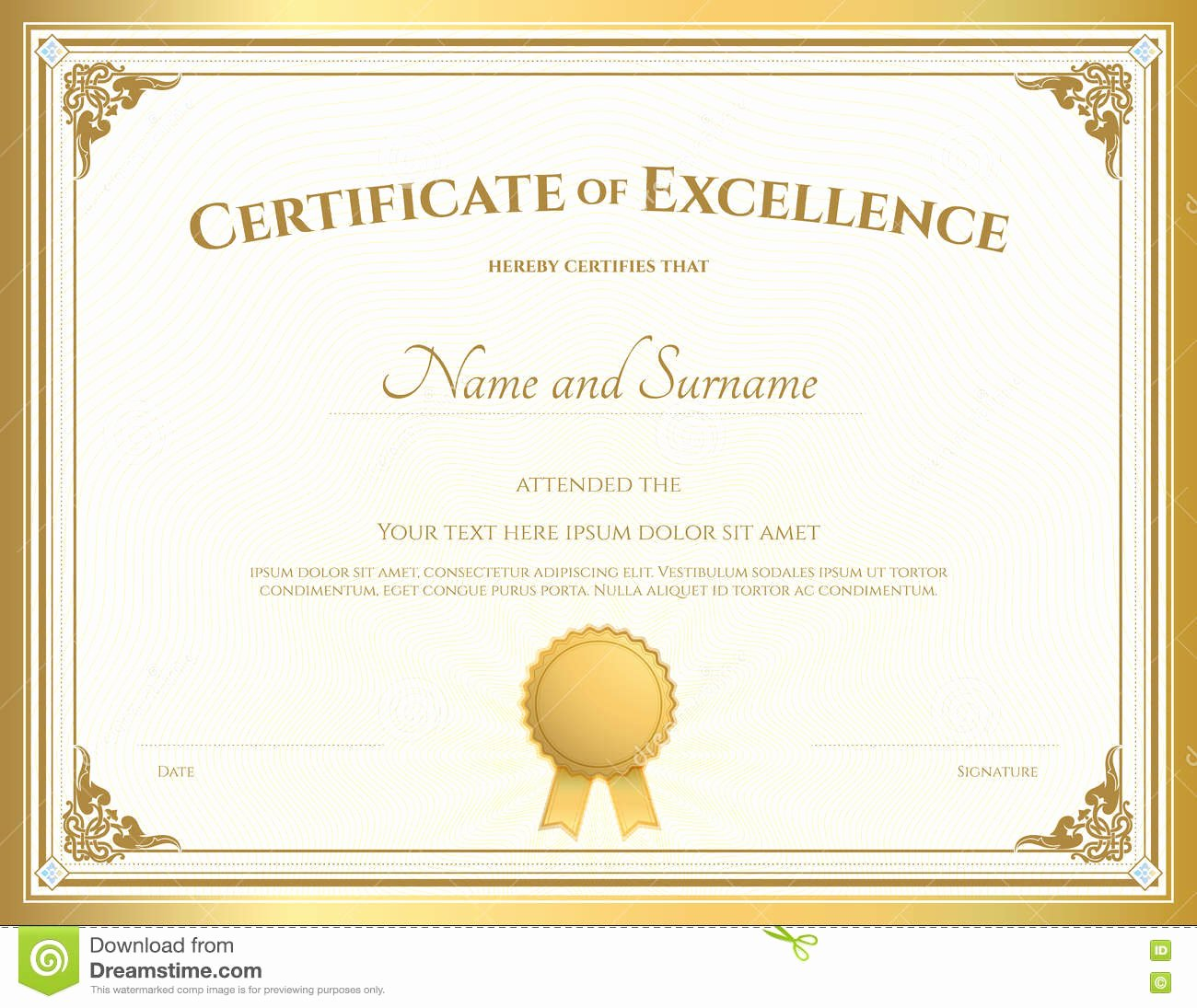 Certificate Of Excellence Template Fresh Certificate Excellence Template with Gold Border Stock Vector Illustration Of T