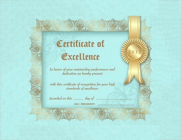 Certificate Of Excellence Template Lovely 17 Certificate Of Excellence Templates In Illustrator Indesign