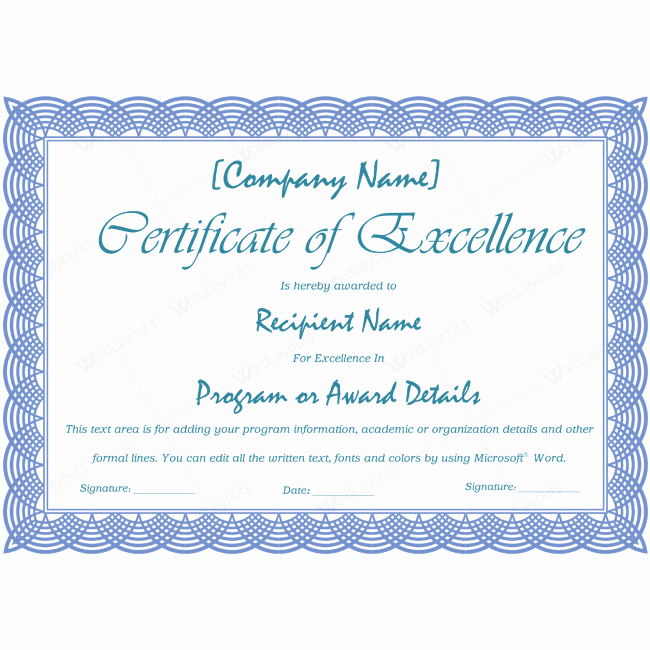 Certificate Of Excellence Template Lovely 89 Elegant Award Certificates for Business and School events