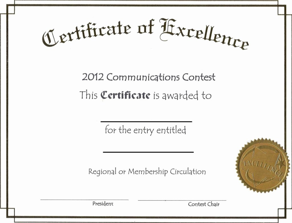 Certificate Of Excellence Template Luxury Free Editable Certificate Of Excellence Template Example with Awarded Recipient Space and Gold