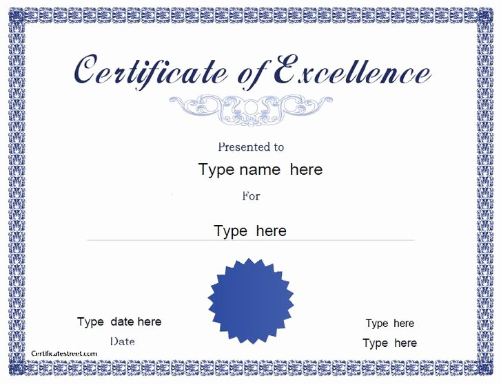 Certificate Of Excellence Template New 36 Free Printable Certificate Templates Free Download