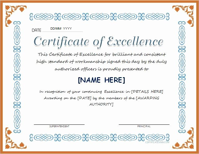 Certificate Of Excellence Template Unique Pin by Alizbath Adam On Certificates