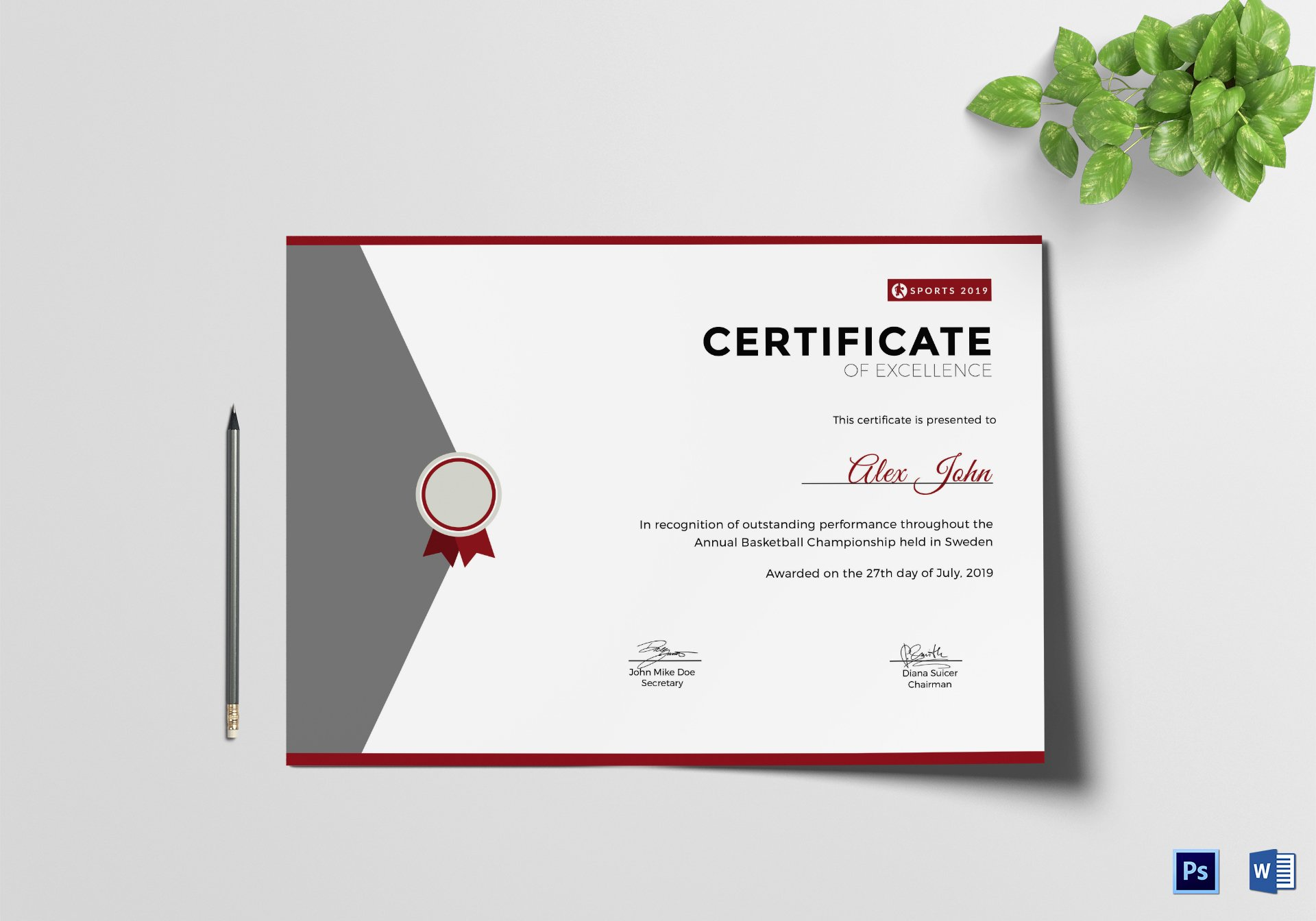 Certificate Of Excellence Template Unique Prize Excellence Certificate Design Template In Psd Word