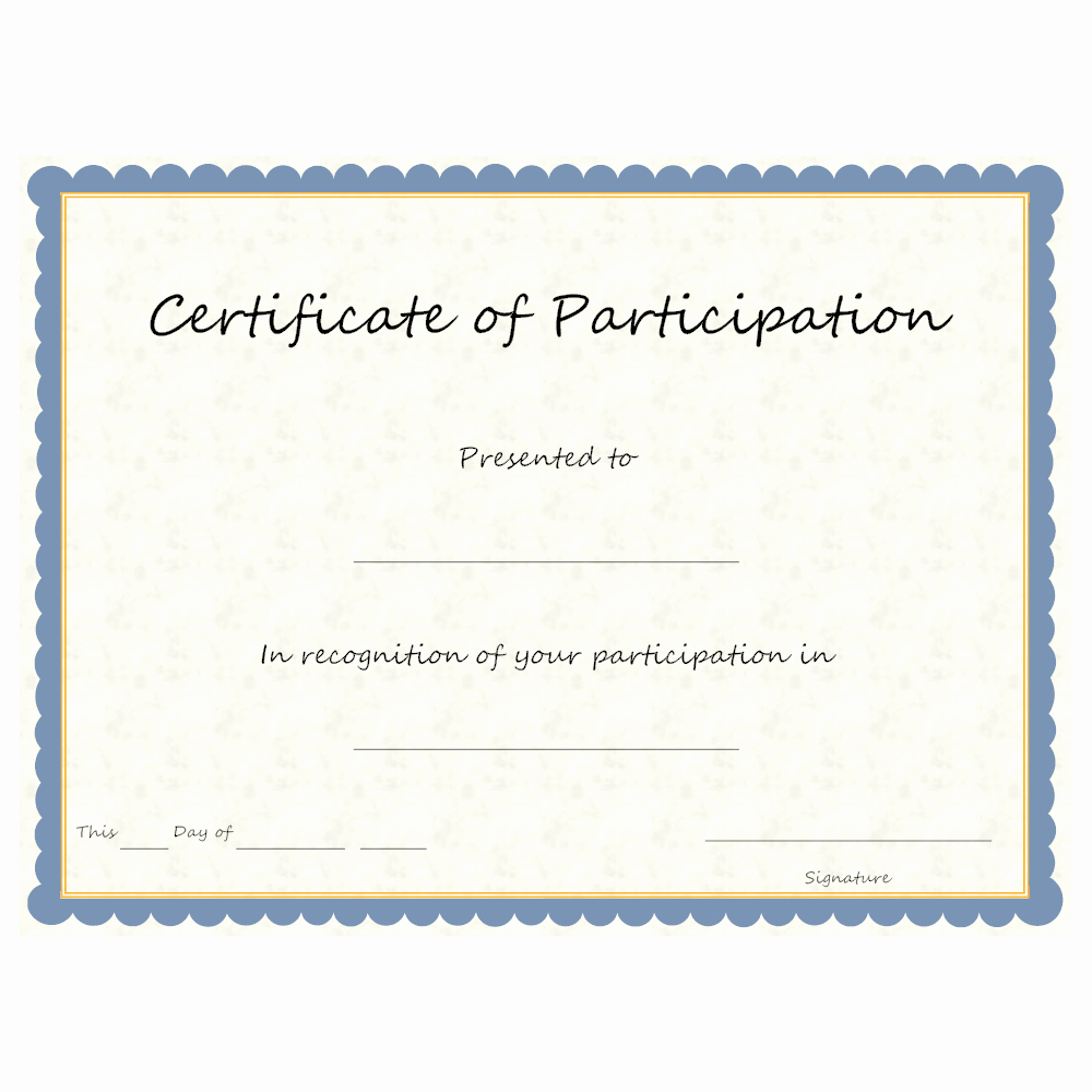 Certificate Of Participation Template Awesome Certificate Of Participation