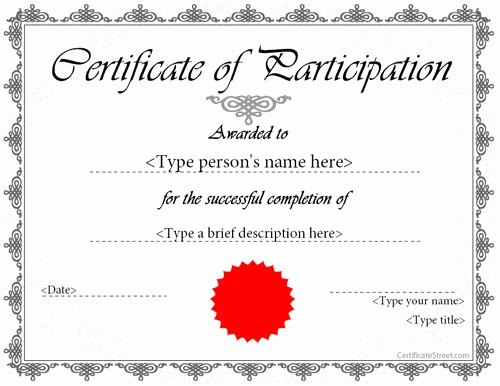 Certificate Of Participation Template Awesome Special Certificate Award Certificate Of Participation