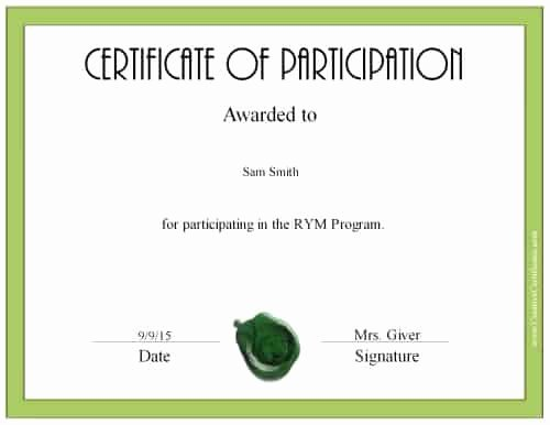 Certificate Of Participation Template Beautiful Free Certificate Of Participation
