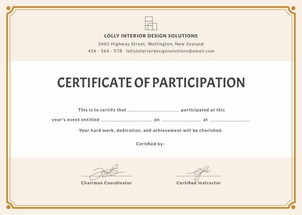 Certificate Of Participation Template Best Of Fashion Show Certificate Design