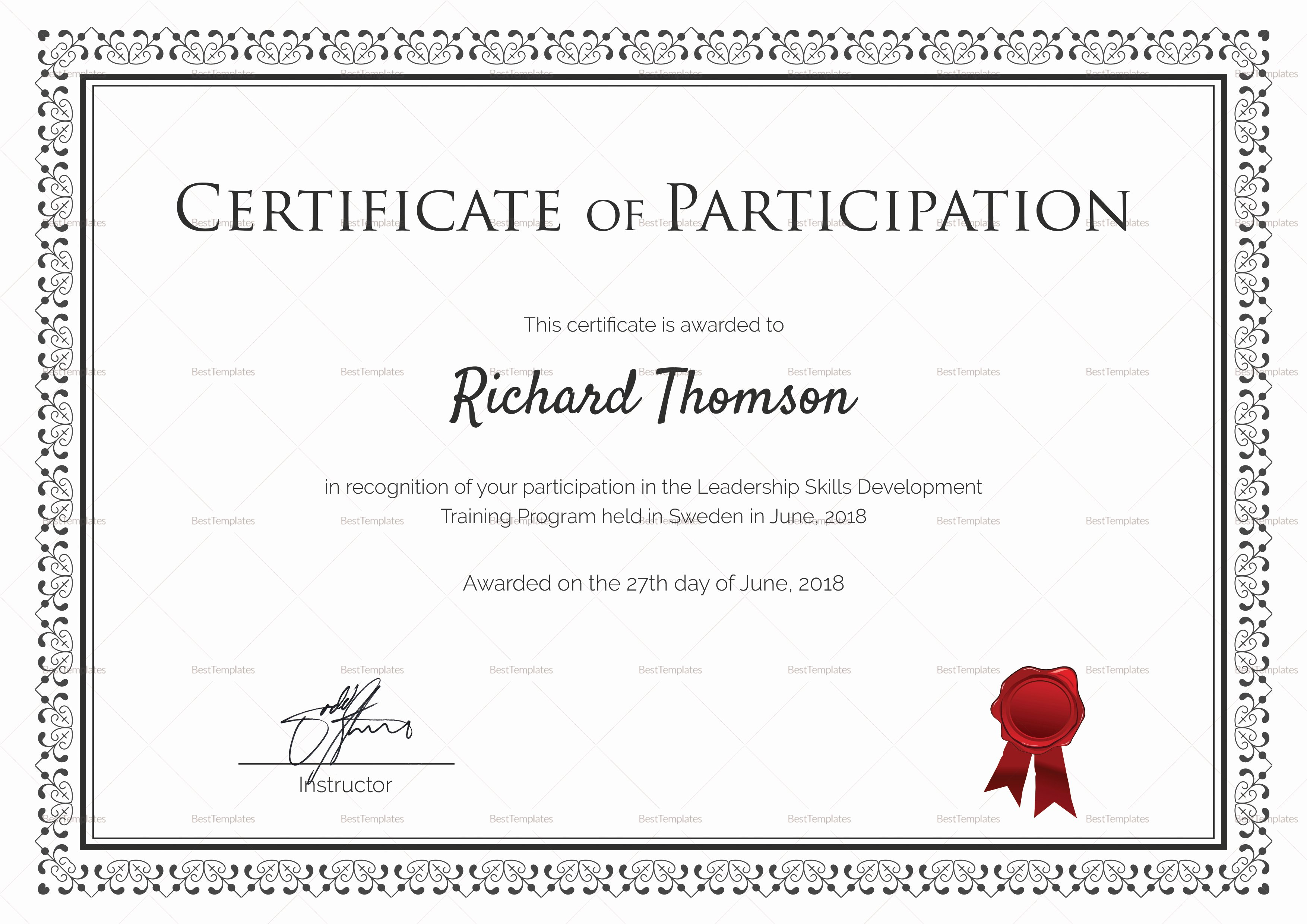 Certificate Of Participation Template Best Of Training Participation Certificate Design Template In Psd