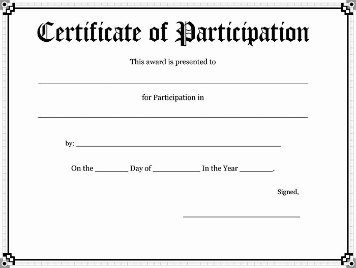 Certificate Of Participation Template Elegant 10 Blank Printable Blank Certificates