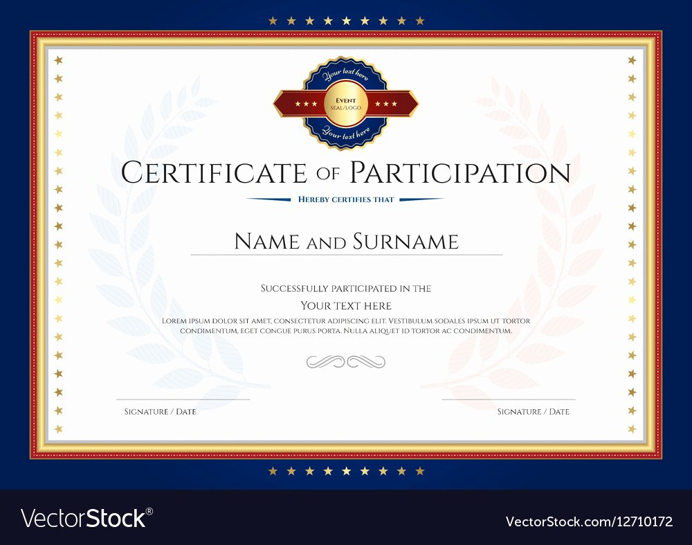 Certificate Of Participation Template Fresh Certificate Of Participation Template with Laurel Vector Image