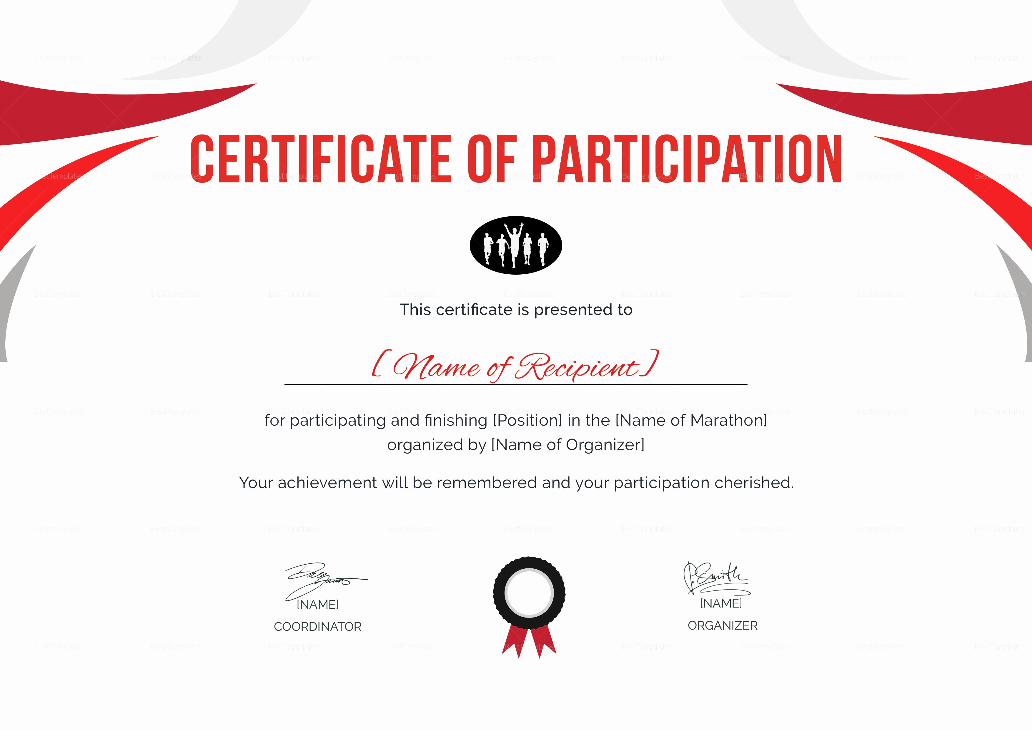 Certificate Of Participation Template Inspirational Participation Certificate for Running Template In Psd Word