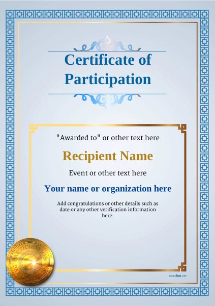 Certificate Of Participation Template Inspirational Participation Certificate Templates Free Printable Add