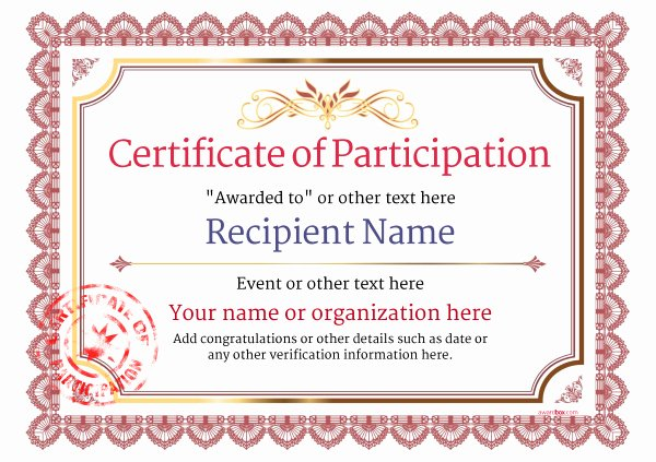 Certificate Of Participation Template Lovely Participation Certificate Templates Free Printable Add