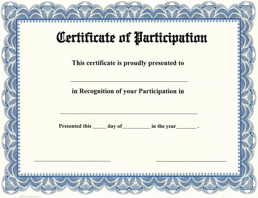 Certificate Of Participation Template Unique Printable Participation Templates