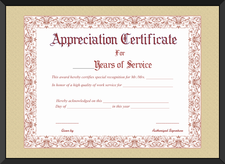 Certificate Of Service Template Beautiful Free Printable Appreciation Certificate for Years Of Service