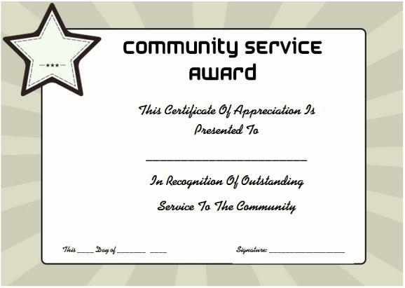 Certificate Of Service Template Beautiful Munity Service Certificate Of Appreciation