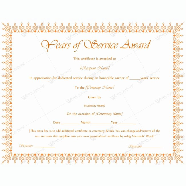 Certificate Of Service Template Elegant 13 Best Years Of Service Award Images On Pinterest