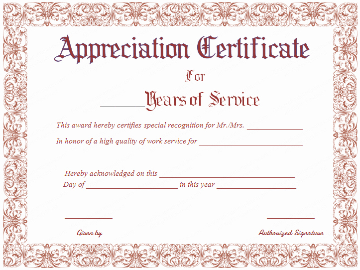 Certificate Of Service Template Inspirational Free Printable Appreciation Certificate for Years Of Service
