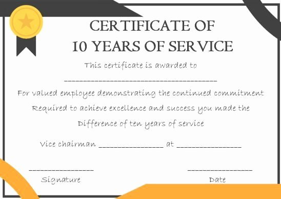 Certificate Of Service Template Lovely 10 Years Service Award Certificate 10 Templates to Honor Years Of Service Template Sumo