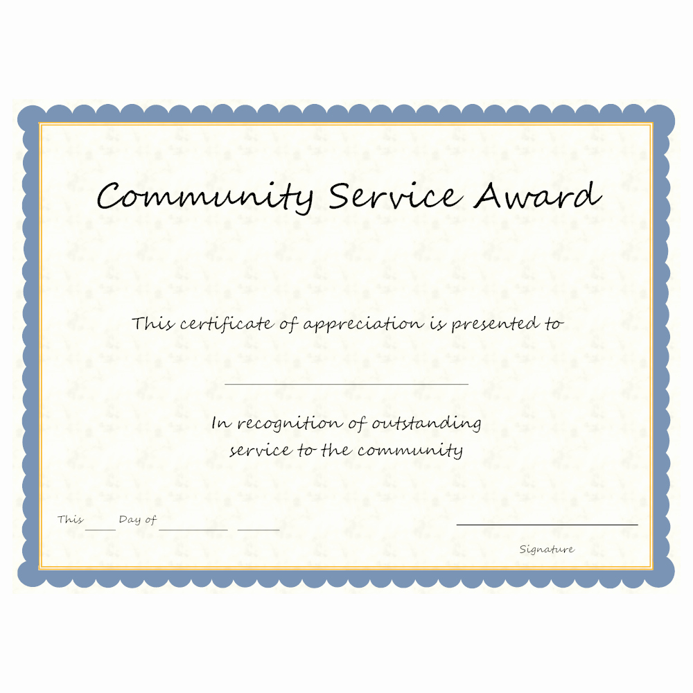 Certificate Of Service Template Lovely Munity Service Award