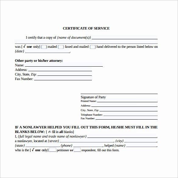 sample certificate of service template