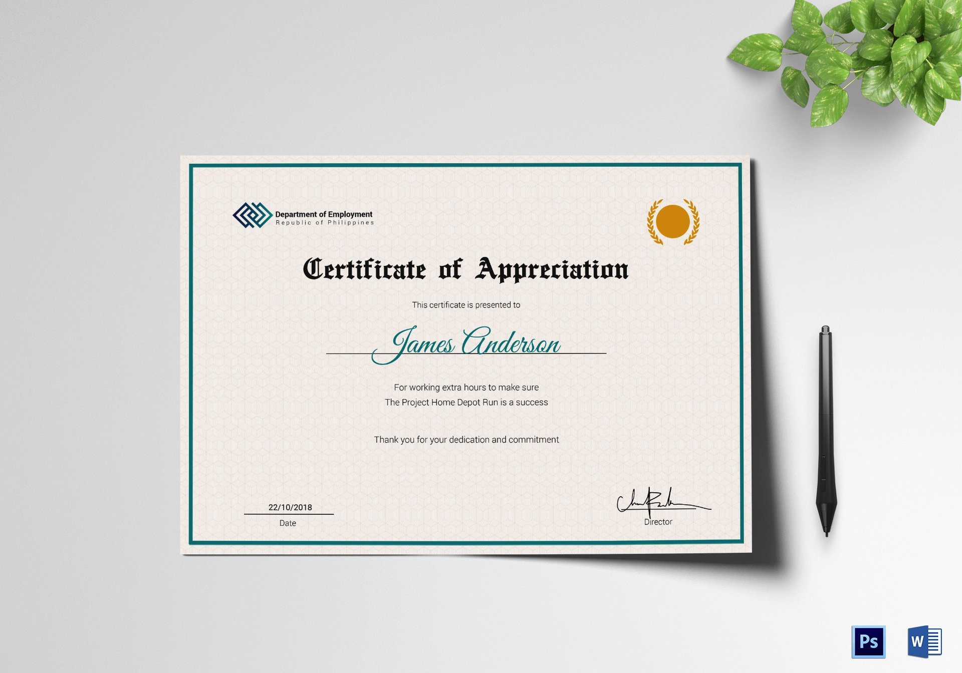 Certificate Of Service Template New Employee Service Certificate Design Template In Psd Word