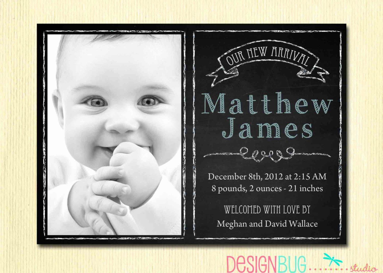 Chalkboard Baby Announcement Template Unique Baby Boy Birth Announcement Modern Chalkboard Newborn