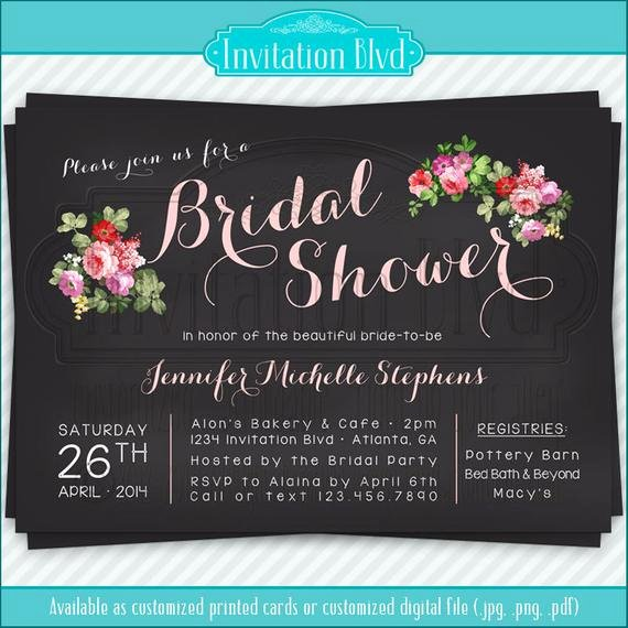 Chalkboard Bridal Shower Invitations Awesome Items Similar to Bridal Shower Invitation Wedding Shower Invitations Chalkboard Florals