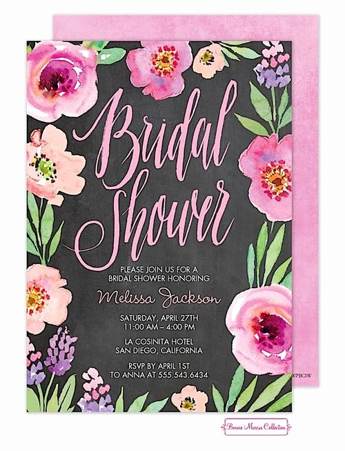 Chalkboard Bridal Shower Invitations Awesome Watercolor Bridal Shower Chalkboard Invitation Printswell