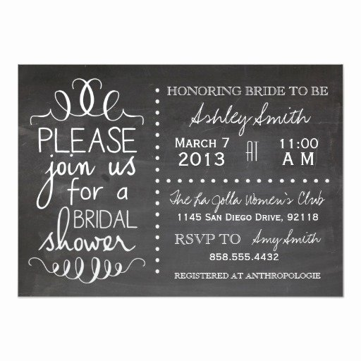 Chalkboard Bridal Shower Invitations Beautiful Chalkboard Bridal Shower Invitation