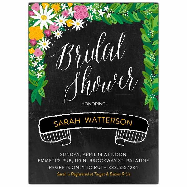 Chalkboard Bridal Shower Invitations Elegant Adorned Chalkboard Bridal Shower Invitations