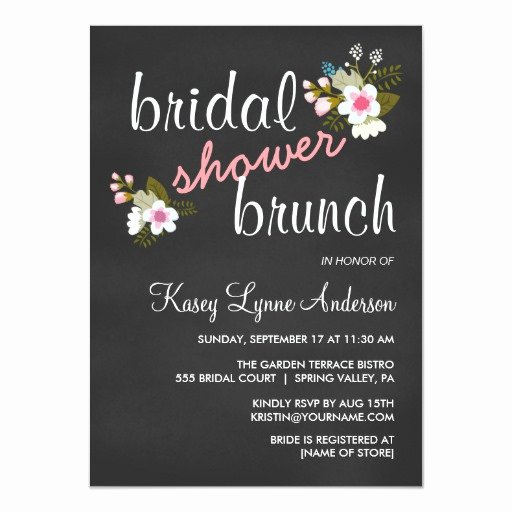Chalkboard Bridal Shower Invitations Elegant Chalkboard Floral Bridal Shower Brunch Invites
