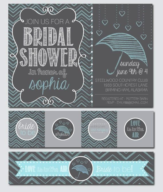 Chalkboard Bridal Shower Invitations Elegant Chalkboard Umbrella Bridal Shower Invitation and Decoration Thinkrsvp
