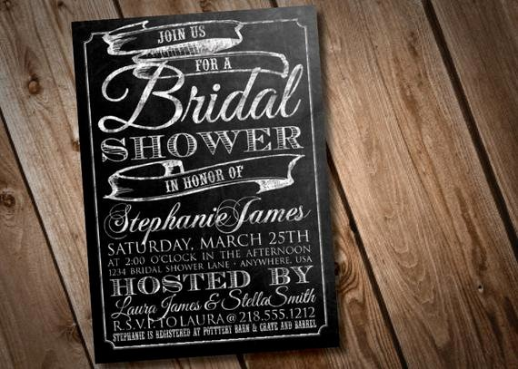 Chalkboard Bridal Shower Invitations Elegant Diy Printable Chalkboard Bridal Shower Invitation