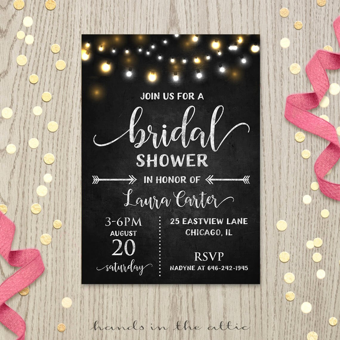 Chalkboard Bridal Shower Invitations Elegant Fairy Lights Chalkboard Bridal Shower Invitation