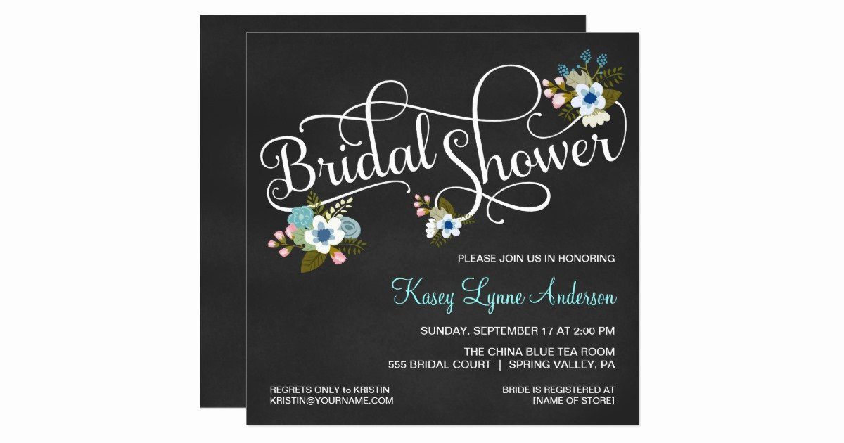 Chalkboard Bridal Shower Invitations Elegant Floral Chalkboard Bridal Shower Invitations