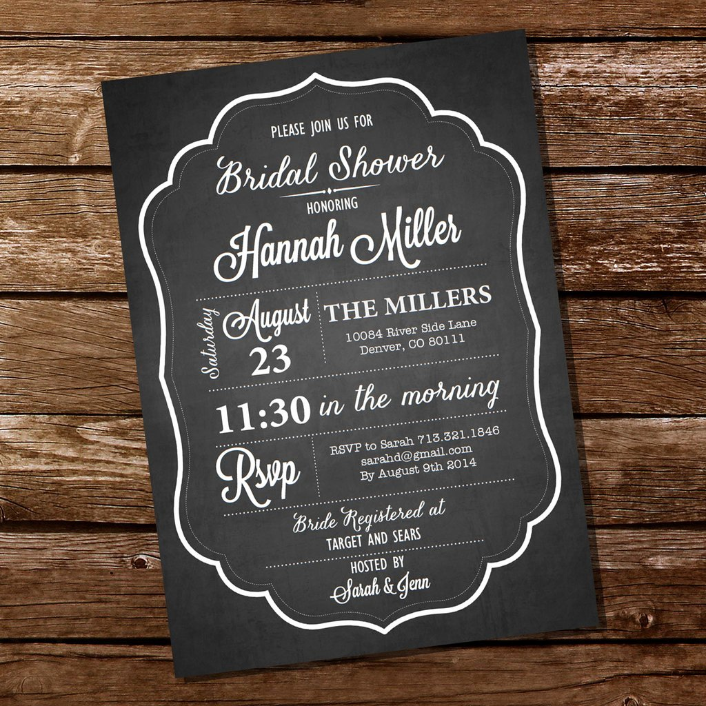 chalkboard bridal shower bachelorette invitation