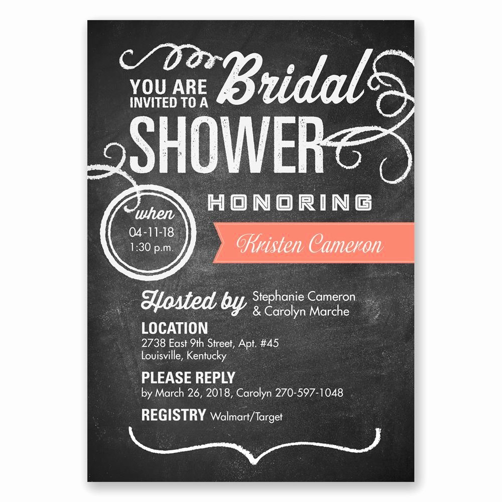 Chalkboard Bridal Shower Invitations Inspirational Chalkboard Poster Bridal Shower Invitation