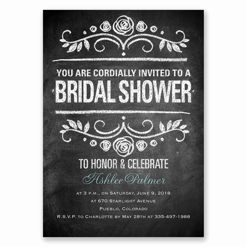 Chalkboard Bridal Shower Invitations Luxury Chalkboard Art Bridal Shower Invitation