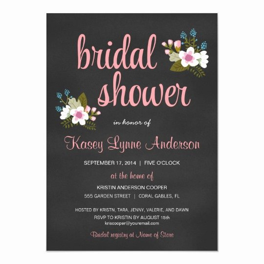 Chalkboard Bridal Shower Invitations Luxury Chalkboard Floral Bridal Shower Invitations