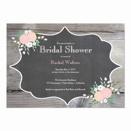 Chalkboard Bridal Shower Invitations New Rustic Floral Chalkboard Bridal Shower Invitation
