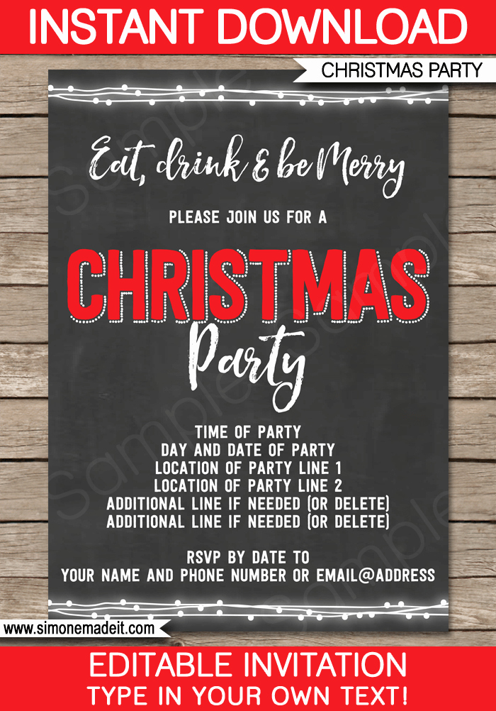 Chalkboard Invitation Template Free Awesome Christmas Party Chalkboard Invitation