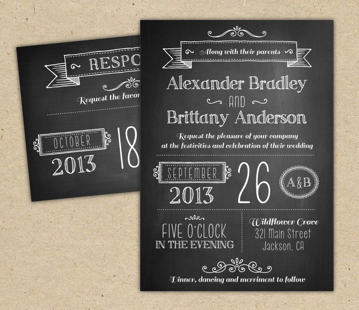 Chalkboard Invitation Template Free Best Of Chalkboard Wedding Invitation Modern Invitation Template Diy