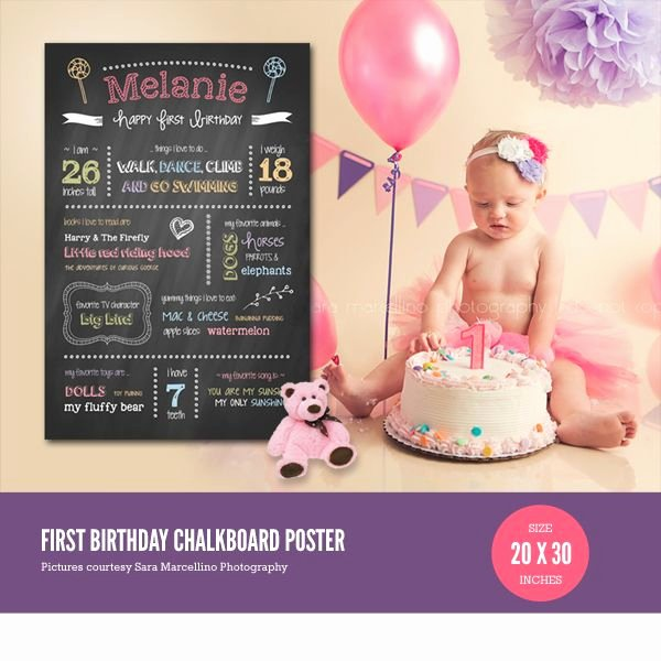 Chalkboard Poster Template Free Fresh First Birthday Chalkboard Poster Template Baby