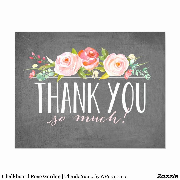 Chalkboard Thank You Cards Elegant Chalkboard Rose Garden Thank You Card