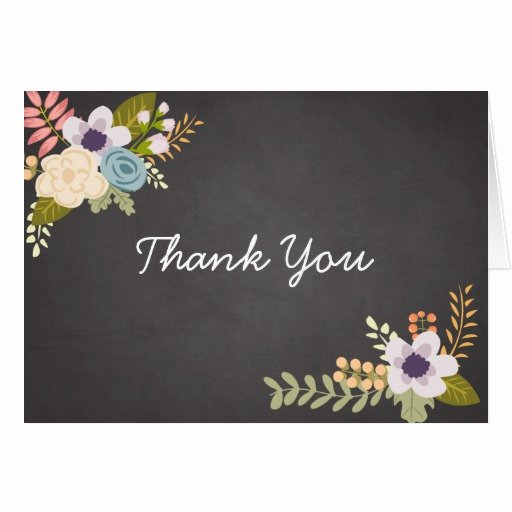 Chalkboard Thank You Cards Inspirational Floral Chalkboard Thank You Note Card