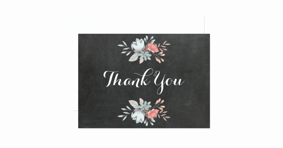 Chalkboard Thank You Cards Inspirational Pretty Floral Chalkboard Flat Thank You Card